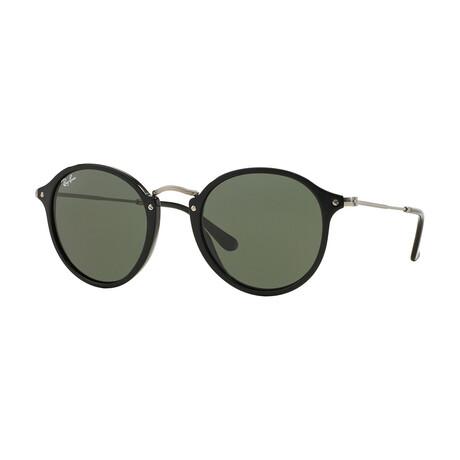 Men's Round Sunglasses // Black + Green