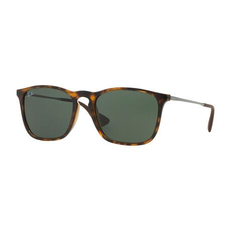 Men's Square Sunglasses // Light Havana + Green