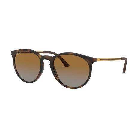 Men's Round Polarized Sunglasses // Havana + Brown Gradient