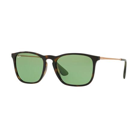Men's Square Sunglasses // Havana + Green