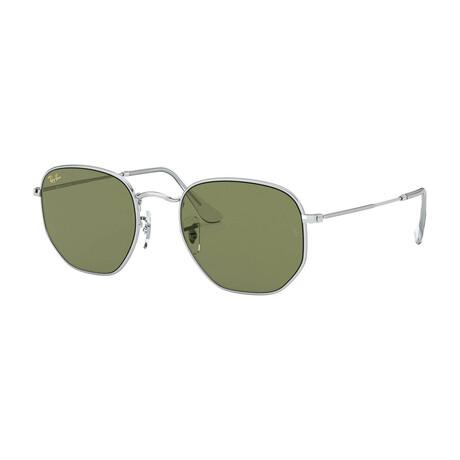 Men's Square Sunglasses // Silver + Light Green