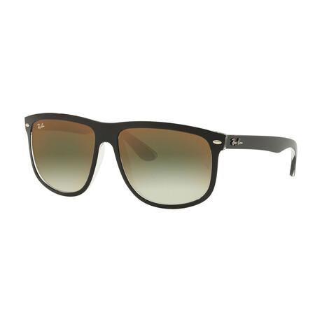 Men's Square Sunglasses // Black + Green + Red Gradient Mirror