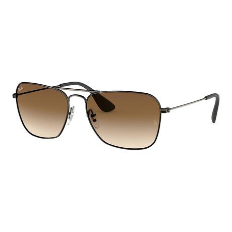Men's Square Double Bridge Sunglasses // Matte Black + Brown Gradient