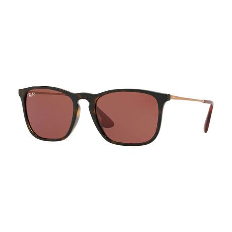Men's Square Sunglasses // Havana + Dark Violet