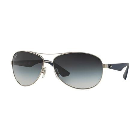 Men's Oval Sunglasses // Silver + Gray Gradient