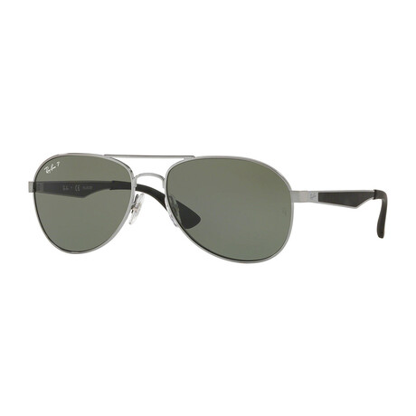 Men's Aviator Polarized Sunglasses // Gunmetal + Green