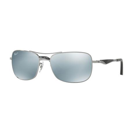 Men's Rectangular Sunglasses // Gunmetal + Silver Mirror