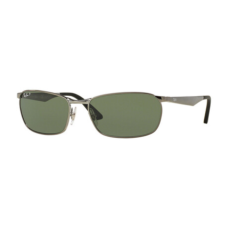 Men's Rectangular Sunglasses // Gunmetal + Green