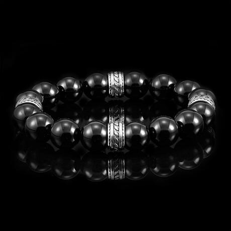 Stainless Steel + Natural Stone Beaded Bracelet (Tiger's Eye)