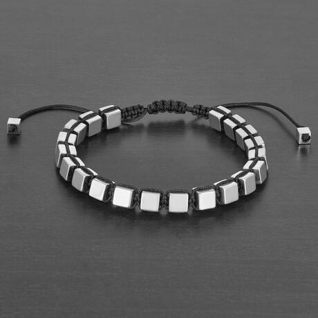 Polished Hematite Cube Stone Bracelet // 6mm (Gold)