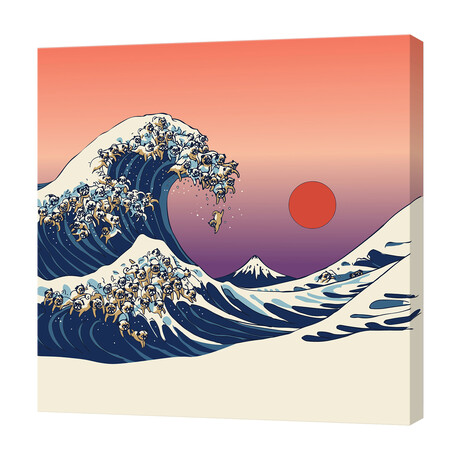 """The Great Wave of Pug (16""""W x 16""""H x 1.5""""D)"""