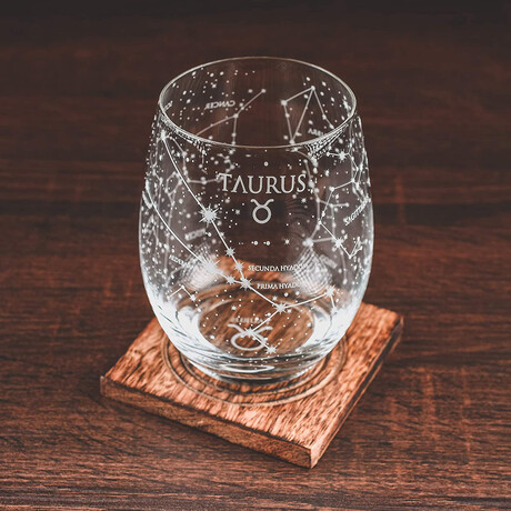 Astrology Etched Wine Glasses // Set of 2 // Taurus