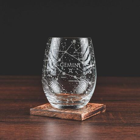 Astrology Etched Wine Glasses // Set of 2 // Gemini