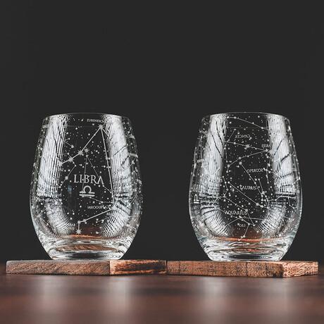 Astrology Etched Wine Glasses // Set of 2 // Libra