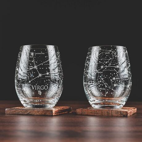 Astrology Etched Wine Glasses // Set of 2 // Virgo