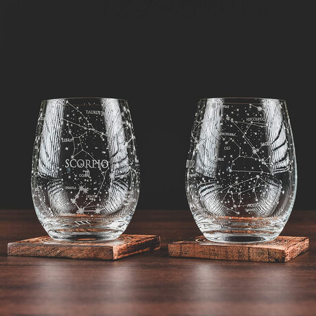 Astrology Etched Wine Glasses // Set of 2 // Scorpio