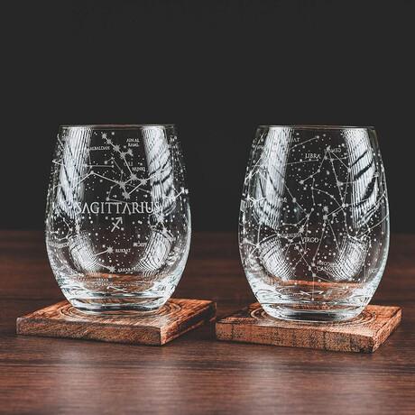 Astrology Etched Wine Glasses // Set of 2 // Sagittarius