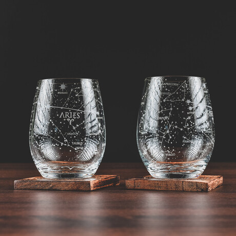 Astrology Etched Wine Glasses // Set of 2 // Aries