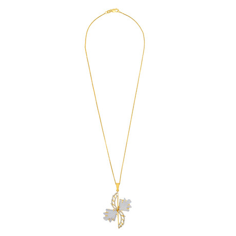 """14K Yellow Gold Ghalcedony + Diamond Wing Necklace // 16"""""""