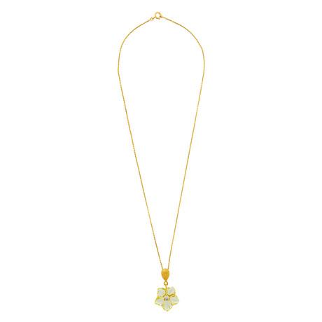 "14K Yellow Gold Lemon Topaz + Diamond Flower Necklace // 16"""