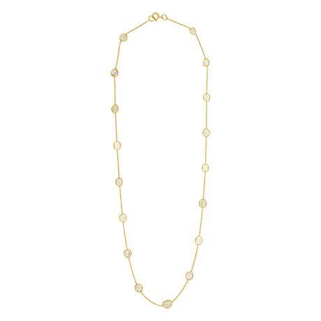 "18K Yellow Gold 1 Line Diamond Slices Necklace II // 18"""