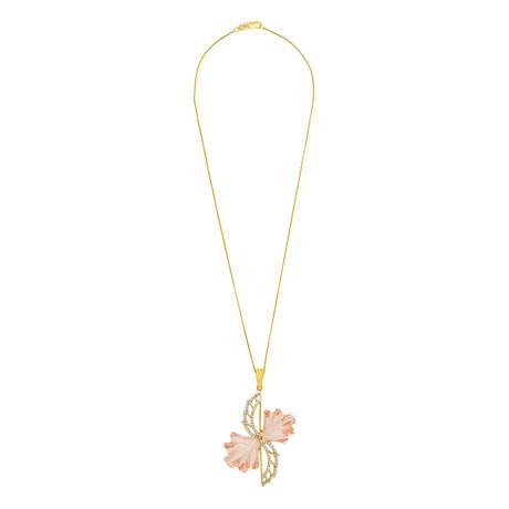 "14K Yellow Gold Rose Quartz + Diamond Wing Necklace // 16"""