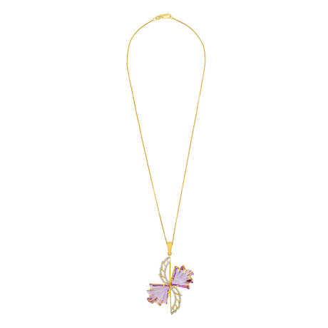 "14K Yellow Gold Amethyst + Diamond Wing Necklace // 16"""