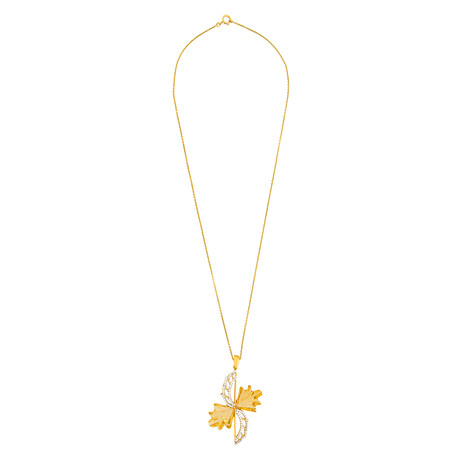 "14K Yellow Gold Citrine + Diamond Wing Necklace // 16"""