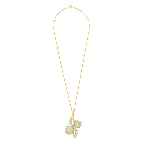 """14K Yellow Gold Green Amethyst + Diamond Wing Necklace // 16"""""""