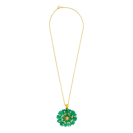 """14K Yellow Gold Jade + Diamond Carved Necklace // 16"""""""