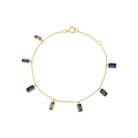 "18K Yellow Gold Iolite Bracelet // 7"""