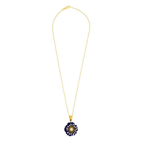 "14K Yellow Gold Lapis + Diamond Floral Necklace // 16"""