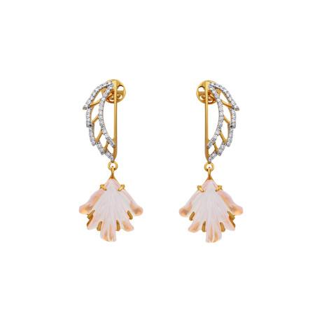 14K Yellow Gold Rose Quartz + Diamond Wing Earrings