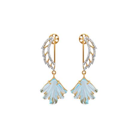 14K Yellow Gold Blue Topaz + Diamond Wing Earrings