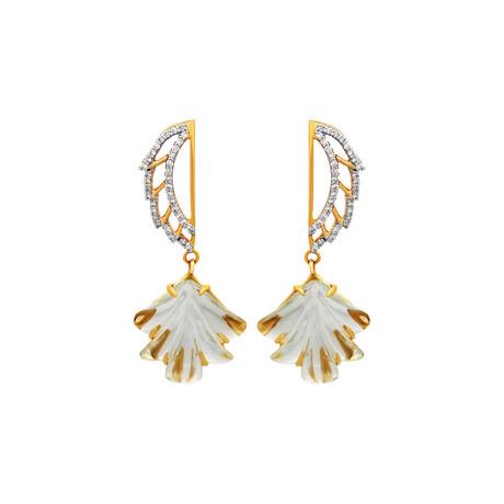 14K Yellow Gold Green Amethyst + Diamond Wing Earrings