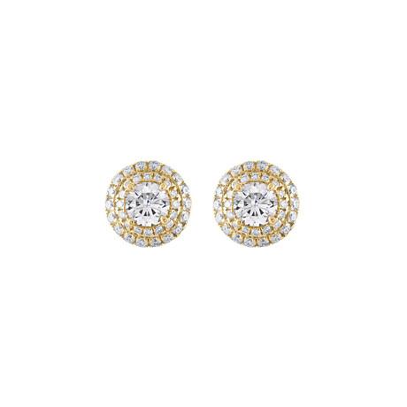18K Yellow Gold Diamond Earrings I