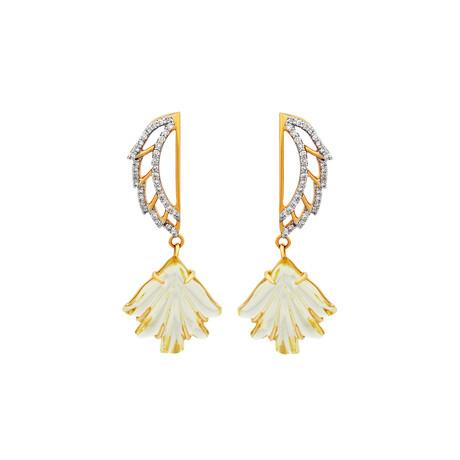 14K Yellow Gold Lemon Topaz + Diamond Wing Earrings