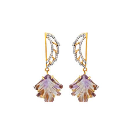 14K Yellow Gold Ametrine + Diamond Wing Earrings