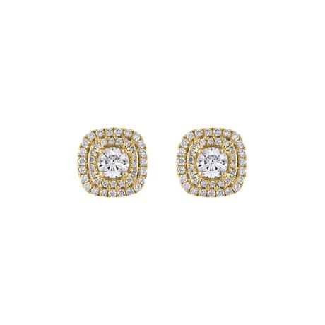 18K Yellow Gold Diamond Earrings II