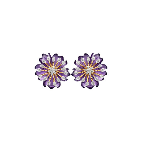 14K Yellow Gold Amethyst + Diamond Floral Carved Earrings