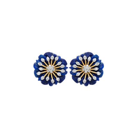 14K Yellow Gold Lapis + Diamond Floral Carved Earrings