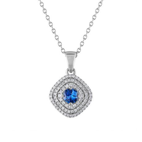 "18K White Gold Diamond + Blue Sapphire Pendant // 18"""