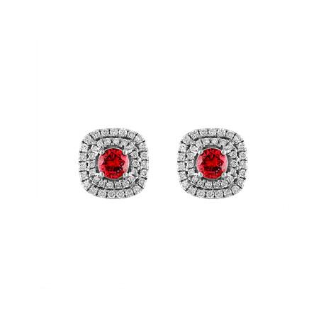 18K White Gold Diamond + Ruby Earrings II
