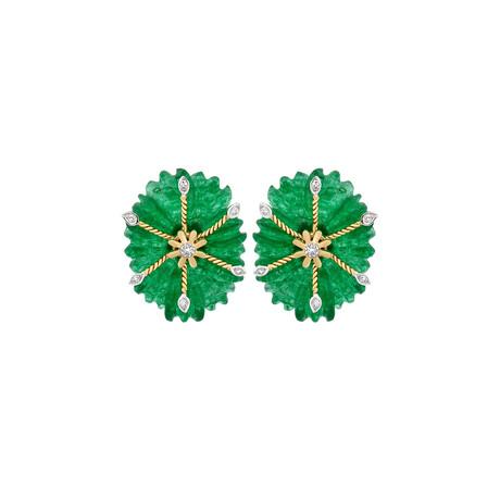 14K Yellow Gold Jade + Diamond Carved Earrings