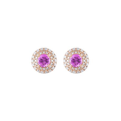 18K Rose Gold Pink Sapphire Earrings
