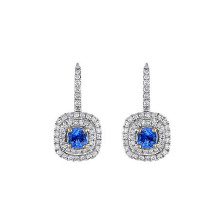 18K White Gold Diamond + Sapphire Earrings