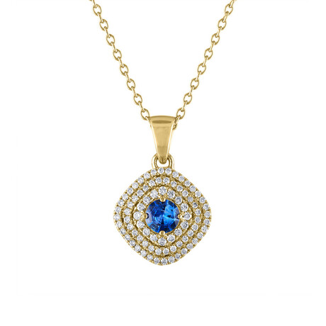 "18K Yellow Gold Diamond + Blue Sapphire Pendant // 18"""