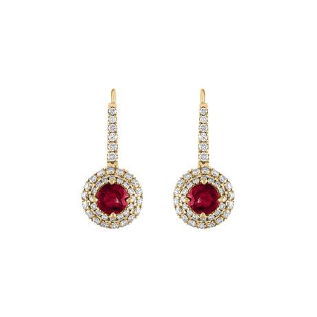 18K Yellow Gold Diamond + Ruby Drop Earrings