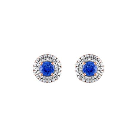 18K Rose Gold Diamond Blue Sapphire Earrings I