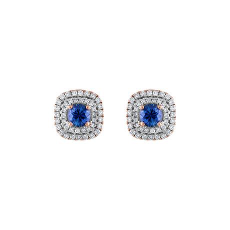 18K Rose Gold Diamond + Blue Sapphire Earrings V